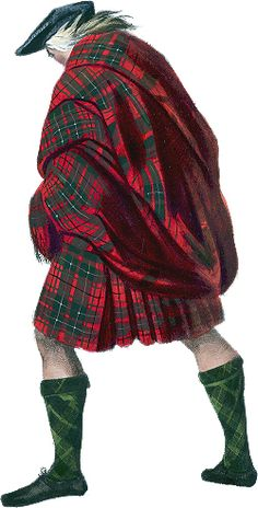 HIghlander in the belted plaid. - Belted plaid or the breacan-an-feileadh (pr: BRE-kan an Feelay)  . . . the great kilt, appears to have been the characteristic dress of the Highlander from the late sixteenth century onwards and had probably been worn for quite some time before that over the saffron tunic.