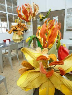 by Linda Nieuwstad, flowers  made of old blankets & skai.