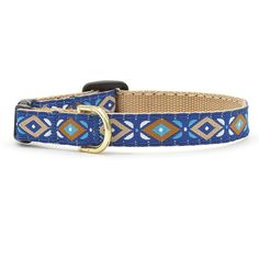 Fluffy will be dressed to impress wearing our Aztec collar! Its bold design in shades of blue and tan really stands out. This striking collar is hand sewn with care, right here in the USA. Cat collars have a breakaway clasp for safety. This clasp will release under pressure to ensure safe play, but is durable for daily wear.