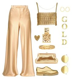 """""""Golden touch"""" by molly2222 ❤ liked on Polyvore featuring Etro, SJP, YMC, Mykita, IBB, BillyTheTree, Tory Burch, gold and flared"""