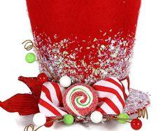 Árbol de adorno, Candy Cane, topper árbol de Navidad. Decoración del sombrero de vacaciones, decoración de la Navidad