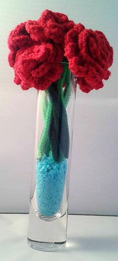 Crochet Roses  Single/Half Dozen/Dozen  by CraftyMillerJM on Etsy