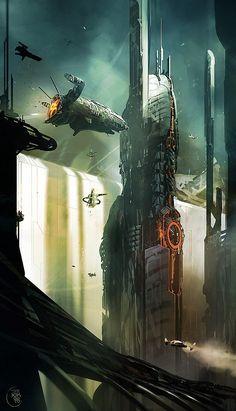 Futuristic Art by Nicolas Bouvier. Nicolas Bouvier aka Sparth, artistic director and concept designer in the gaming industry. Matte Painting, Interstellar, Fantasy World, Fantasy Art, Cyberpunk, Sci Fi City, Futuristic City, Alien Worlds, Science Fiction Art