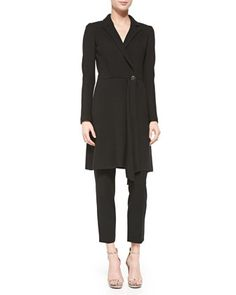 Textured-Stripe Knit Topper Coat, Scoop-Neck Ribbed-Knit Fine Gauge Tank Top & Stretch Milano Knit Slim Ankle Alexa Pants by St. John Collection at Neiman Marcus.