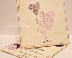Fairy Invitations - Handmade Tilted Easel Card Invitations (Sample). $7.00, via Etsy.