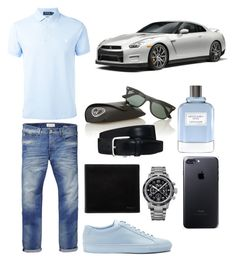 """""""Baby Blue Brother"""" by theodor44444 ❤ liked on Polyvore featuring Scotch & Soda, Polo Ralph Lauren, Common Projects, Ray-Ban, Givenchy, Breguet, Tod's, Bally, men's fashion and menswear"""