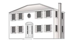 Regency:	Although they borrow from the Georgian's classic lines, Regency homes eschew ornamentation. They're symmetrical, two or three stories, and usually built in brick. Typically, they feature an