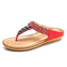 #AdoreWe NewChic Footware - NewChic - SOCOFY Large Size Rhinestone Clip Toe Bohemia Flip Flops - AdoreWe.com