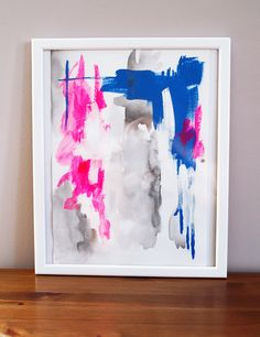 Pink and Blue - Original Abstract Painting, Illustration. $28.00, via Etsy.