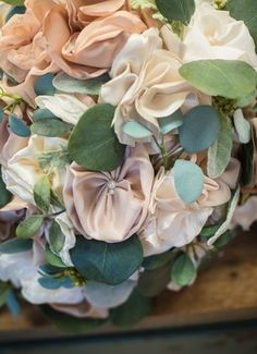 Silk flowers, pearls, bouquet // Mozingo Photography