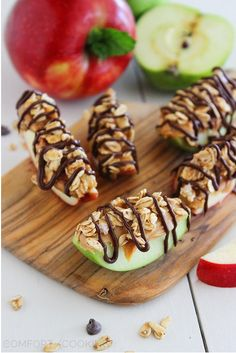 Yumm--Apple , peanut butter , granola/ oatmeal , dark chocolate  Keep Checking out our healthy snack ideas @9roundsiouxfalls