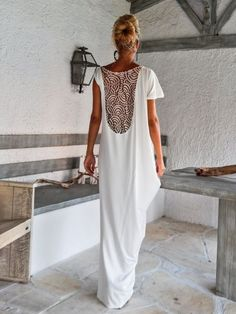 Ivory Maxi Dress Kaftan with Lace Mesh Details / Asymmetric Open Back Dress / Oversize Loose Dress / #35087  This elegant, sophisticated, loose and comfortable maxi dress, looks as stunning with a pair of heels as it does with flats. You can wear it for a special occasion or it can be your comfortable dress. - Handmade item  - Materials : viscose, stretch cotton, beige lace mesh   * Viscose is a very soft stretch fabric, thin, comfortable and it drapes beautifully.   * Stretch cotton is a…