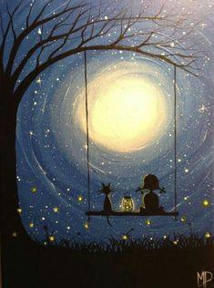 Fire Fly's Girl on swing painting 9 x 12 by Michael Prosper - PaintinG Swing Painting, Painting & Drawing, Rock Painting, Art And Illustration, Art Illustrations, Fantasy Kunst, Fantasy Art, Moon Art, Cat Art