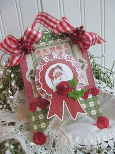 vintage style CHRISTMAS SANTA stitched altered plaque sign decoration