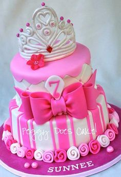 Pink Princess Cake - by PeggyDoesCake @ - cake decorating website Pretty Cakes, Cute Cakes, Beautiful Cakes, Amazing Cakes, Girly Cakes, Fancy Cakes, Pink Princess Cakes, Princess Party, Princess Birthday