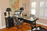 Floral office chair and different chair for sewing area. Also ? glass top for desk area?
