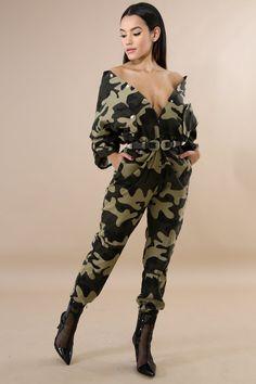 Camouflage Button Up Jumpsuit Tube Skirt, Tube Dress, Camo Fashion, Fashion Pants, Fasion, Women's Fashion, Camouflage Jeans, Camouflage Outfit, Camo Pants