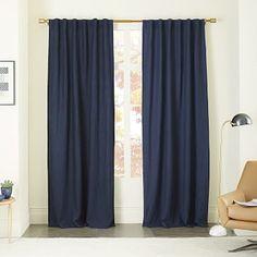 Belgian Flax Linen Curtain Blackout Lining - Midnight #westelm