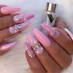 Nail Designs Bling, Nail Art Designs, Nails Design, Pink Acrylic Nails, Gel Nails, Pink Bling Nails, Bling Nail Art, Rhinestone Nails, Perfect Nails