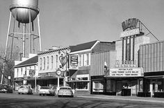High Street, Oxford, Ohio - 1957? Peyton Place was playing at the Miami-Western Theater. Water Tower in background.
