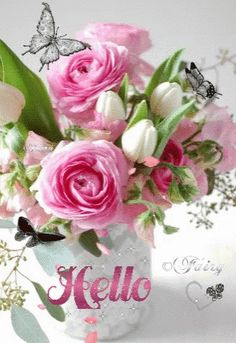 The perfect Hello Animated GIF for your conversation. Good Morning Gift, Cute Good Morning Quotes, Good Morning Greetings, Good Morning Images, Flowers Gif, Beautiful Rose Flowers, Beautiful Gif, Morning Rose, Good Morning Flowers