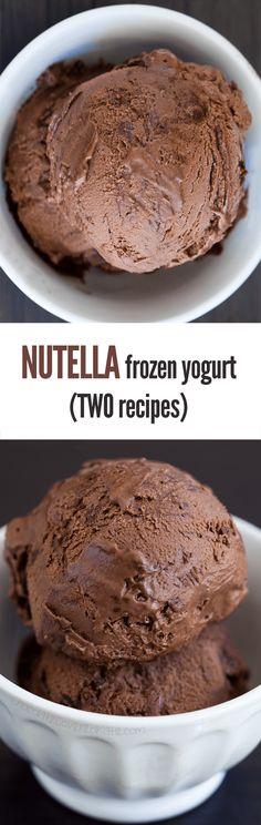 Nutella Frozen Yogurt – Ingredients: 2 cups plain yogurt, 1/2 cup cocoa powder, 1/8 tsp pure vanilla extract, 2/3 cup... Full recipe: http://chocolatecoveredkatie.com/2015/06/08/nutella-frozen-yogurt/ @choccoveredkt