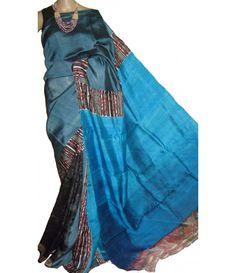 Blue Handloom Block Printed Murshidabad Silk Saree