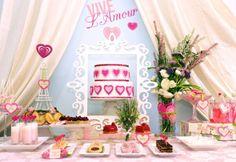 A Paris inspired Valentine's Dessert Table