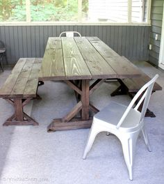 DIY Anthro-Inspired Outdoor Farmhouse Table and benches at DIYontheCheap.com