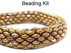 Beaded Tubular SuperDuo Bracelet Necklace Downloadable Beading Pattern Tutorial Kit | Simple Bead Kits