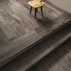 DOLPHIN #abkemozioni #floor Grey rett 20x120 cm #stairs Gradone Grey 32x120 cm. #ceramic #tiles #gres #porcellanato #ceramicwood #design #homedesign