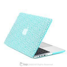 "Hot Blue Greek Key Rubberized Hard Case for MacBook Pro 13"" with Retina Display"