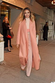 Jessica Alba in pink monochromatic fall outfit.