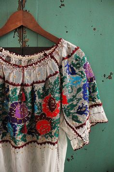 pastoral spring   colorful embroidered tulle top  by silkroaddream, $140.00