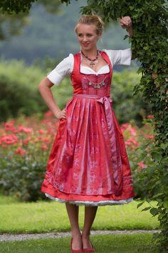 Trachtenmode - Dirndl Tracht Oktoberfest Luisa Kleid Rot Fest - ein Designerstück von Studio-21 bei DaWanda