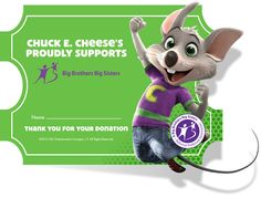 Chuck E. Cheese's is ramping up for National Volunteer Month (April) with a nationwide fundraiser for Big Brothers Big Sisters. Big Sister Program, Chuck E Cheese, Children In Need, Help Kids, Little Sis, Giving Back, Helping Others, Fundraising, Teaching