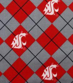 """Washington State University Cougars Fleece Fabric 58"""" - Argyle"""