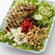 Greek Lemon-Dill Grilled Chicken Salad - 8 points     OMG this looks SO GOOD. This kind of vaguely reminds me of BreadWorks' cous cous salad... w/o the cous cous!      OMG this looks so good. Weight Watchers recipe.
