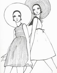 1960s illustration x Young girls in hats and empire waisted mini-dresses