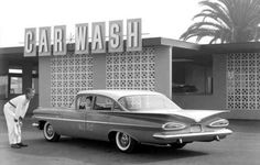 60s carwash...... 59 Chevy, my dad was so proud of that car. Design for wing vins came from air plane design. About the end of the muscle car era. Joyce P.