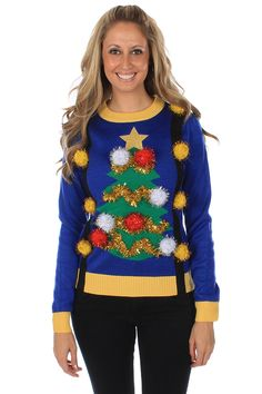 Ugly Christmas Sweaters - Women's Ugly Christmas Tree Sweater with Suspenders by Tipsy Elves