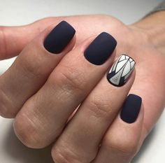 Matte navy blue nails Grey White