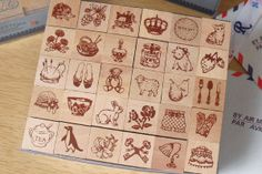 Antique character stamp set.