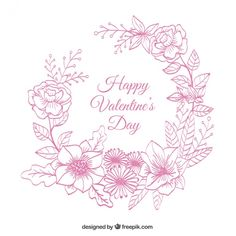 Floral wreath sketch background for valentine Free Vector
