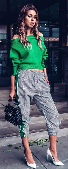 Green off-shoulder top and gray track pants #Spring #Outfits