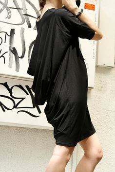 Oversize Draped Tunic Top/ Black Loose Dress- Tunic / Asymmetrical Top