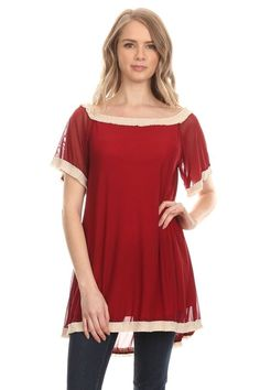 Sweet & Sultry COLLEGE CRIMSON Mesh tunic with beige pleat accent Plus Size L #sccs #Tunic