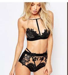 Women's Floral Bra Sheer Mesh Lingerie Set