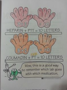 Used this in school 🤗Heparin (PTT)= 10 letters and Coumadin (PT) = 10 letters helps you remember what to monitor from each. PT and INR are monitored with Coumadin Nursing Study Tips, Nursing Labs, Med Surg Nursing, Nursing Board, Lpn Nursing, Nursing School Notes, Nursing Schools, Pediatric Nursing, Nursing Information