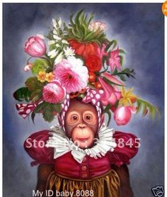 no framed+HIGH QUALITY Art oil painting:monkey portrait #3375  24x36 inches on AliExpress.com. $100.00